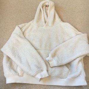 fuzzy hooded sweatshirt